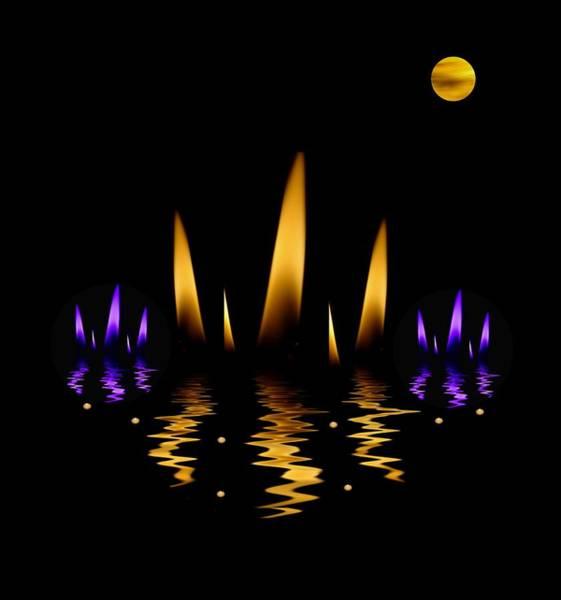 Lotus Mixed Media -  Lotus On Fire In The Dark Night by Pepita Selles
