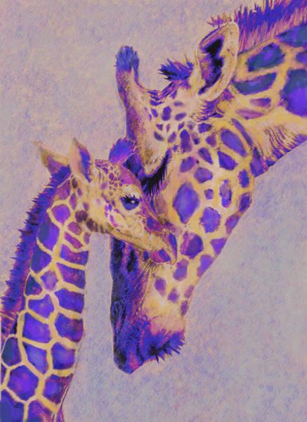 Mom Digital Art -  Loving Purple Giraffes by Jane Schnetlage