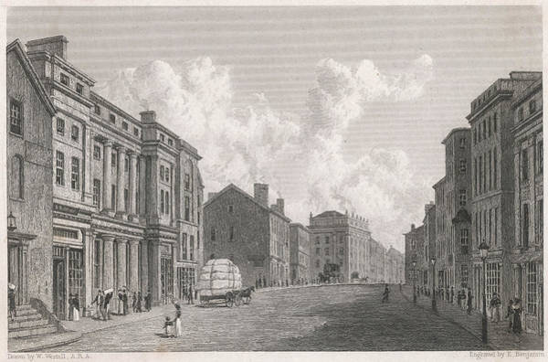 Manchester Drawing -  Manchester  A Street Scene With Cotton by Mary Evans Picture Library