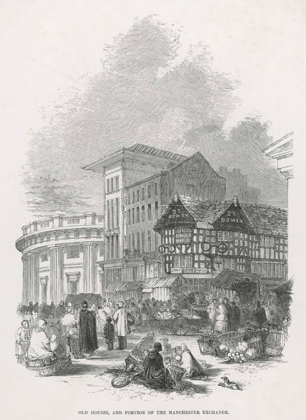 Manchester Drawing -  Manchester  Old Houses (right), And A by Mary Evans Picture Library