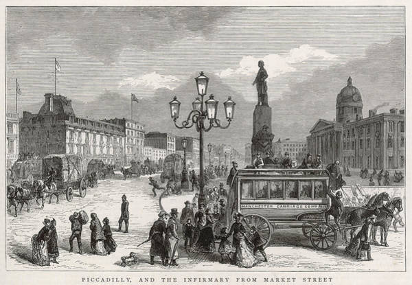 Manchester Drawing -  Manchester  Piccadilly by  Illustrated London News Ltd/Mar