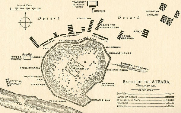 Mapping Drawing -  Map Showing The Battle Of Atbara During The Second Sudan War by English School