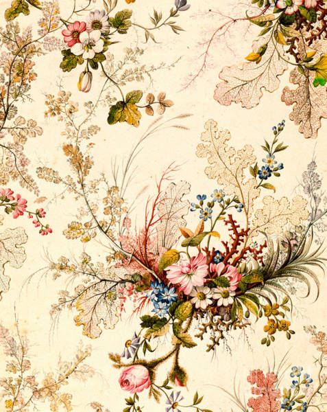 Floral Design Drawing -  Marble End Paper  by William Kilburn