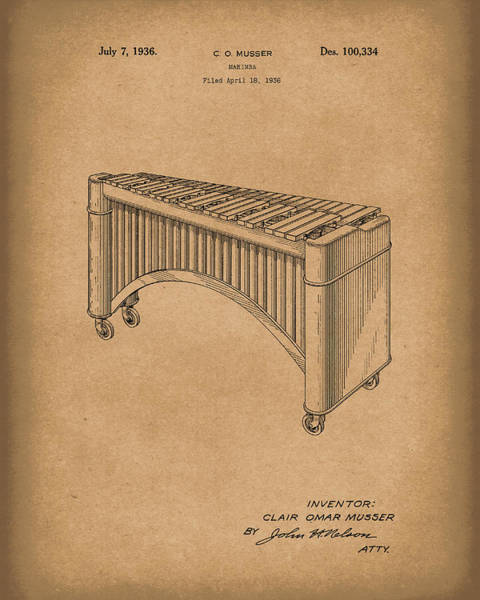 Drawing -  Marimba 1936 Patent Art Brown by Prior Art Design