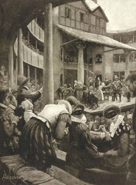 Globe Theatre Drawing -  Masked And Pipe-smoking Ladies by  Illustrated London News Ltd/Mar