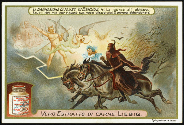 Liebig Wall Art - Drawing -  Mephistopheles And Faust Ride  Towards by Mary Evans Picture Library