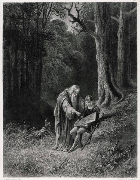Wall Art - Drawing -  Merlin Paints The Shield Of The  Young by Mary Evans Picture Library