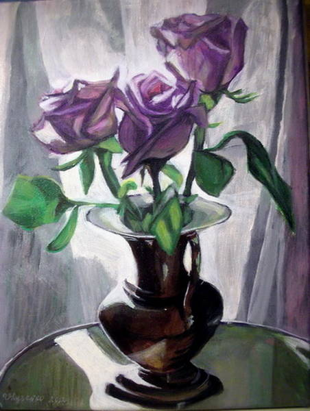 Wall Art - Painting -  Morning Roses by Vera Lysenko