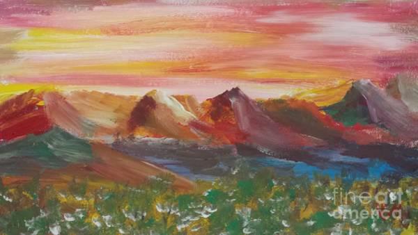 Adirondack Mountains Painting - ptg.  Mountain Sundown by Judy Via-Wolff