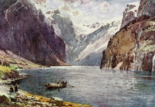 Fjord Drawing -  Naerofjord  Sognefjord        Date 1914 by Mary Evans Picture Library