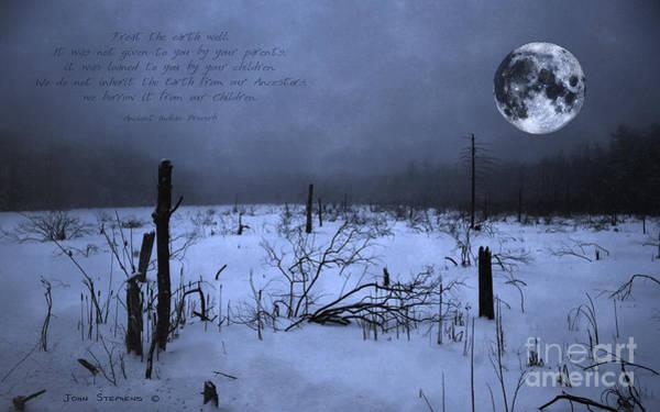 Wall Art - Photograph -  Native American Full Moon Treat The Earth Well by John Stephens