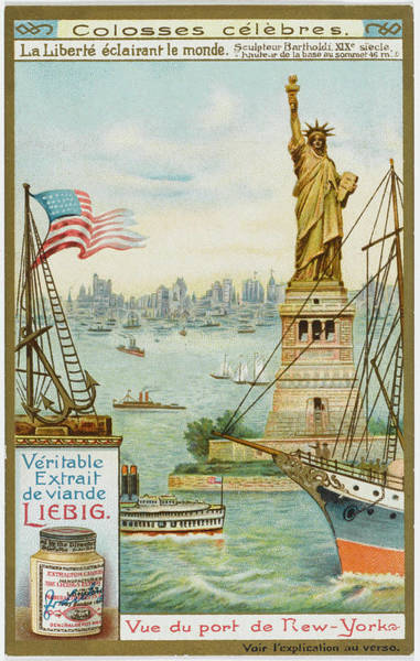 Wall Art - Drawing -  New York  Statue Of Liberty In New by Mary Evans Picture Library