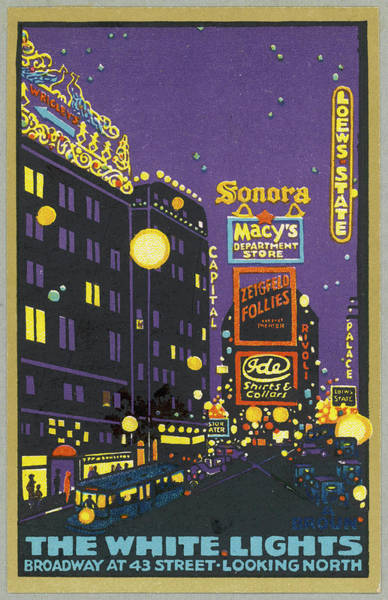 Neon Drawing -  New York  The White Lights Of Broadway by Mary Evans Picture Library