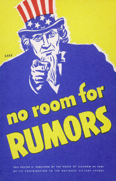 Wall Art - Drawing -  'no Room For Rumors' American World by Mary Evans Picture Library
