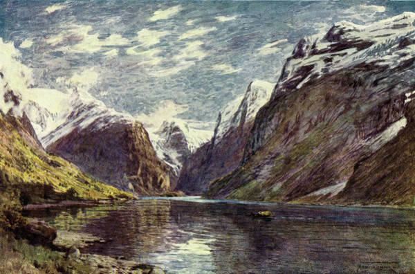 Fjord Drawing -  Nordfjord  Loen Lake        Date 1914 by Mary Evans Picture Library