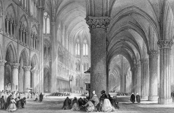 Notre Dame Drawing -  Notre Dame De Paris,  Interior View by Mary Evans Picture Library