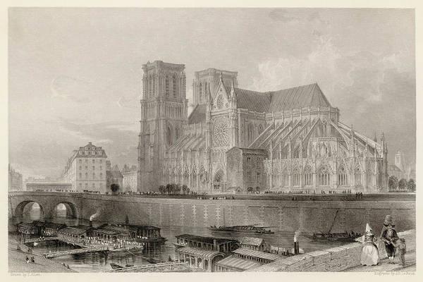 Notre Dame Drawing -  Notre Dame De Paris by Mary Evans Picture Library