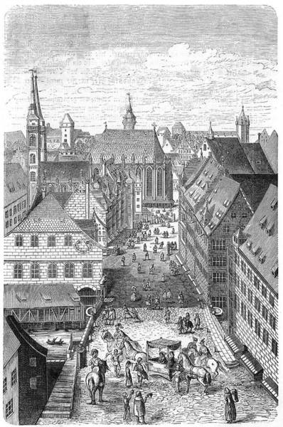 Litter Drawing -  Nuremberg  A Horse-drawn Litter Blocks by Mary Evans Picture Library