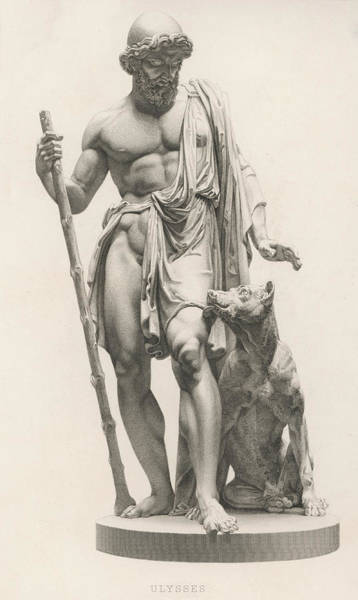 Wall Art - Drawing -  Odysseus Is Recognised By His  Dog by Mary Evans Picture Library