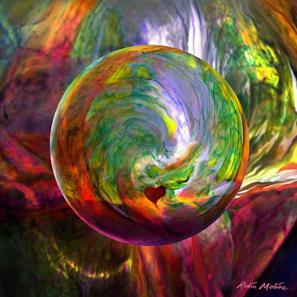 Globe Digital Art -  Orbing A Sea Of Love by Robin Moline