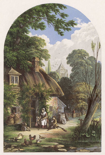Wall Art - Drawing -  Outside The Cottage         Date Circa by Mary Evans Picture Library