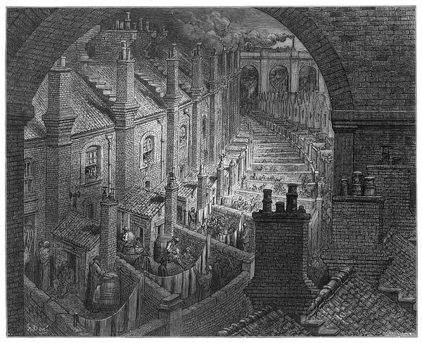 Wall Art - Drawing -  'over London By Rail' - A View Of Back by Mary Evans Picture Library