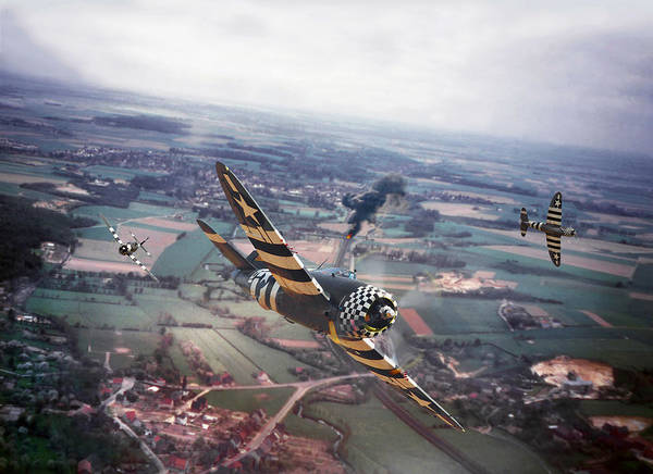 Bomber Aircraft Photograph -  P47- D-day Train Busters by Pat Speirs