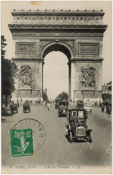 Wall Art - Photograph -  Paris  Arc De Triomphe With Early Cars by Mary Evans Picture Library