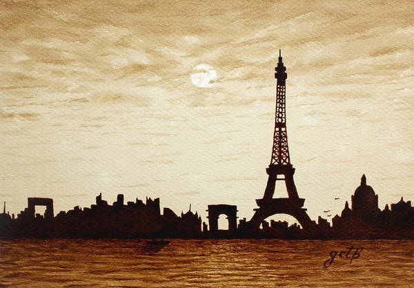 Paris Under Moonlight Silhouette France Art Print