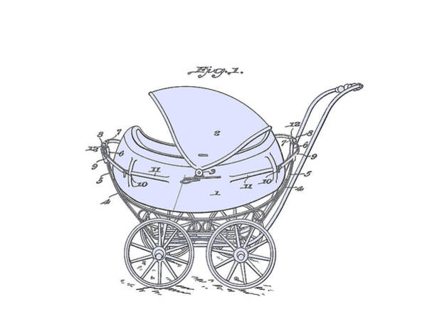 Digital Art -  Patent Baby Carriage 1923 Froman-1-blue On White by Lesa Fine