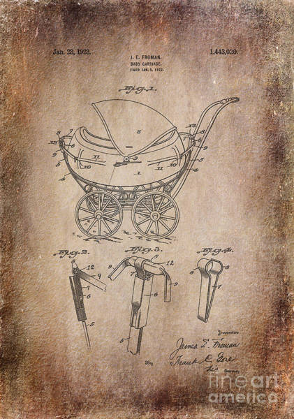 Digital Art -  Patent Baby Carriage 1923 Froman Aged by Lesa Fine