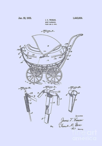 Digital Art -  Patent Baby Carriage 1923 Froman Blue by Lesa Fine