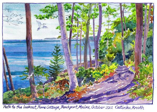 Painting -  Path Through Fall Woods To Lookout Above Rocky Coast Of Rockport Maine by Catinka Knoth