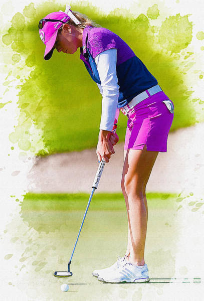 British Open Digital Art -  Paula Creamer Putts The Ball On The Fourth Green by Don Kuing