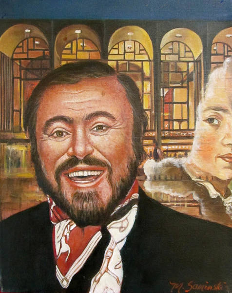 The Three Tenors Painting -  Pavarotti And The Ghost Of Lincoln Center by Melinda Saminski