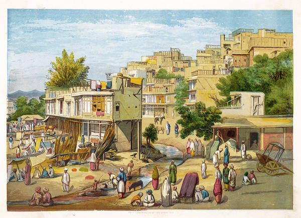 Wall Art - Drawing -  Peshawar  A Colourful Street Scene by  Illustrated London News Ltd/Mar