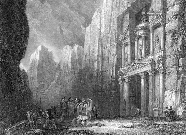 Wall Art - Drawing -  Petra  Ruins Of Selah, A Temple by Mary Evans Picture Library