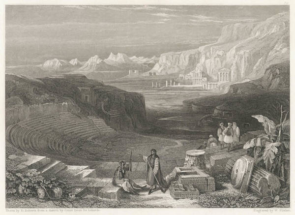 Wall Art - Drawing -  Petra  Ruins Of The Amphitheatre - by Mary Evans Picture Library