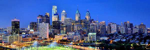 Philadelphia Photograph -  Philadelphia Skyline At Night Evening Panorama by Jon Holiday