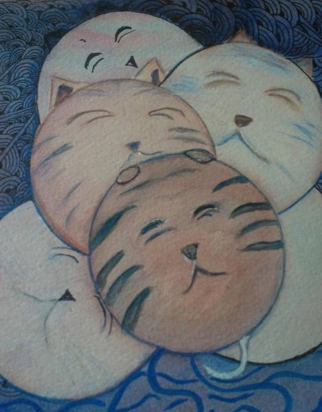 Fat Mixed Media -  Pink  Fat Cats by Marian Hebert