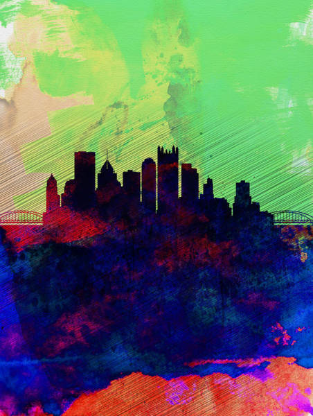 Downtown Wall Art - Painting -  Pittsburgh Watercolor Skyline by Naxart Studio