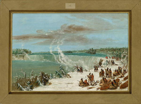 Indian Camp Painting -  Portage Around The Falls Of Niagara At Table Rock by George Catlin