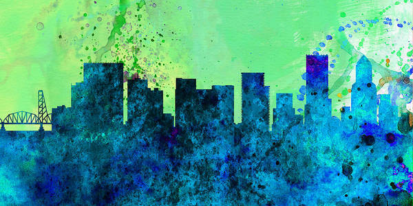 Wall Art - Painting -  Portland City Skyline by Naxart Studio