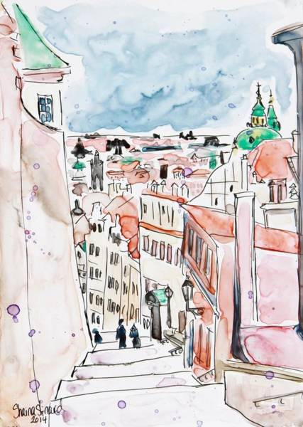 Pen And Ink Mixed Media -  Prague Castle Steps by Shaina Stinard