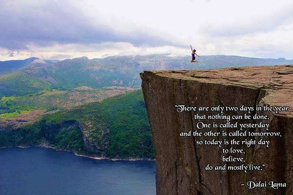 Preikestolen Pulpit Rock Norway Dalai Lama Quote  Art Print