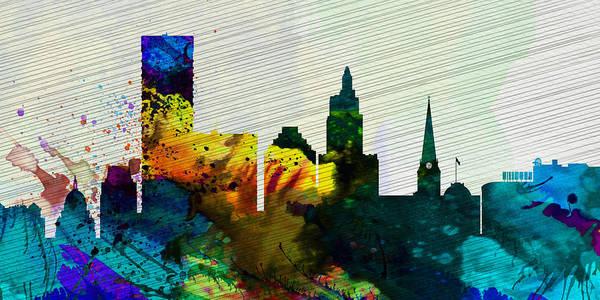 Wall Art - Painting -  Providence City Skyline by Naxart Studio