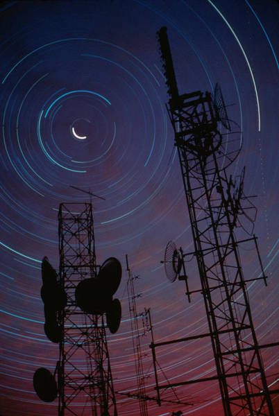 Satellite Dish Photograph -  Radio Towers And Star Trails by Anonymous