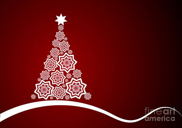 Wall Art - Digital Art -  Red And White Christmas Card by Martin Capek