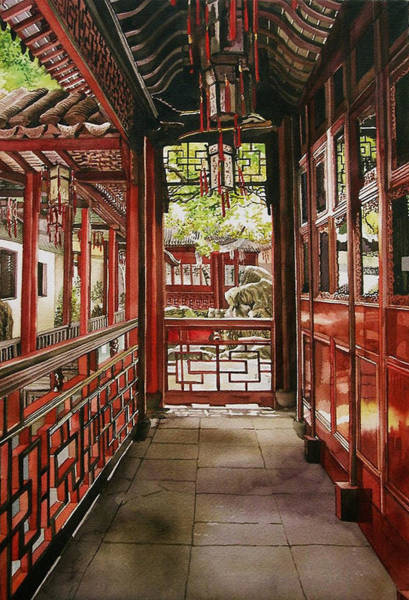 Painting -  Red Corridor by Alfred Ng