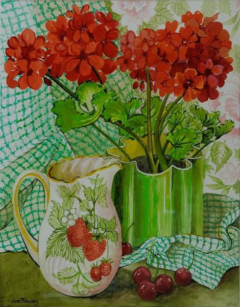 Red Geraniums Wall Art - Painting -  Red Geranium With The Strawberry Jug And Cherries by Joan Thewsey
